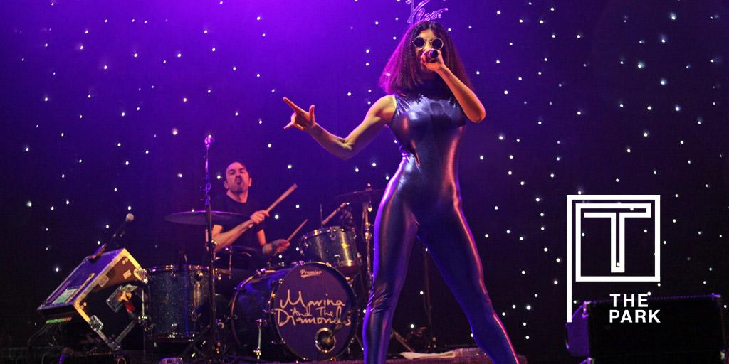 Up on Red Button now is @MarinasDiamonds looking all purple! #tinthepark http://t.co/LlRF5htB7Z
