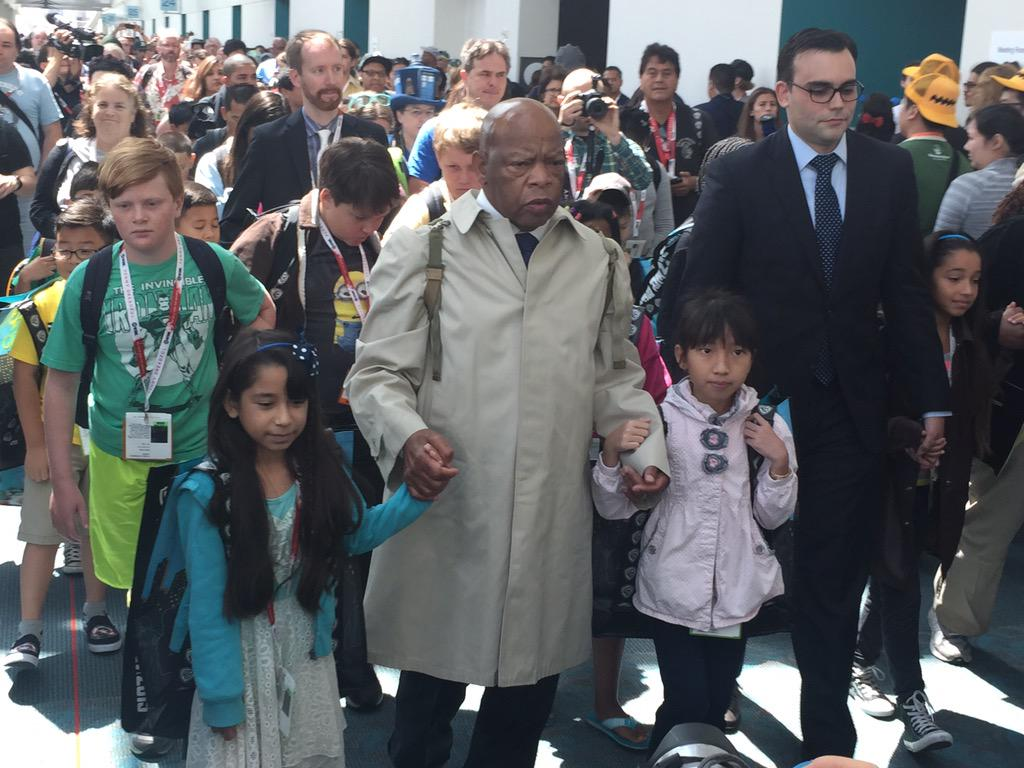 "Congressman John Lewis after his panel discussion about ""March"". #SDCC #ComicCon2015 #JohnLewis http://t.co/2oY3vSD7al"