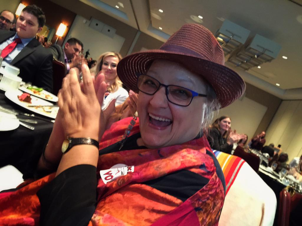 @najournalists @NativePublicMed Suzanne Harjo, honored at #NAJA15 Awards Banquet, for her fight to #changethemascot http://t.co/R7fHlhMKJL