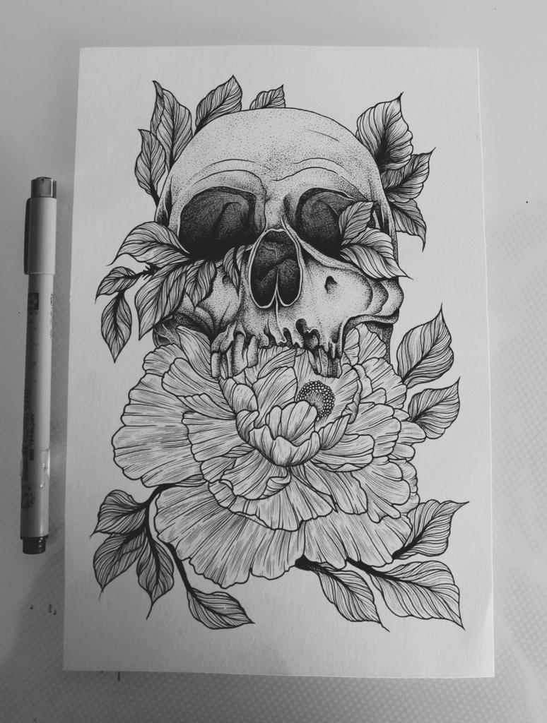 Ardillaykepaza On Twitter Dibujo Calavera Indie Rosas