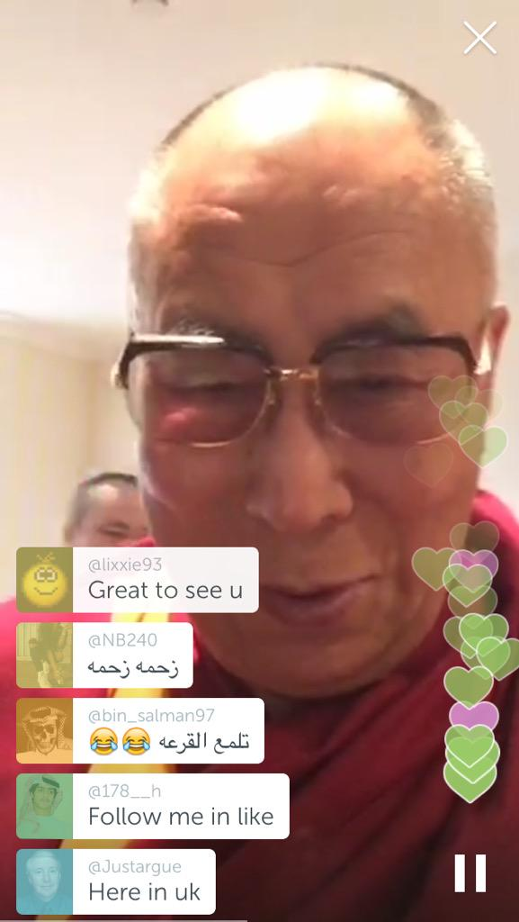 'This is a new technology called Periscope' - @JoergEigendorf meets @DalaiLama. Watch replay: https://t.co/Vot77EUygf http://t.co/vCPtYj6hmj