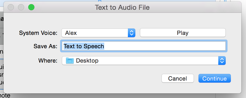Highlight text & choose Add to iTunes as a spoken track to create an audio file.Then,choose your fave voice. #ade2015 http://t.co/PRzb9ki38c