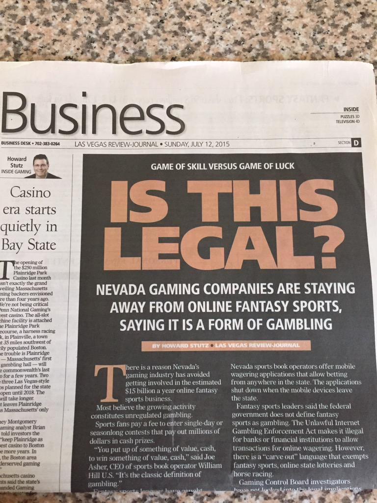This story is causing debate: Is daily fantasy sports really gambling? Nevada thinks so https://t.co/P8mAvfNSdE #lvrj http://t.co/pvzUiSiaao