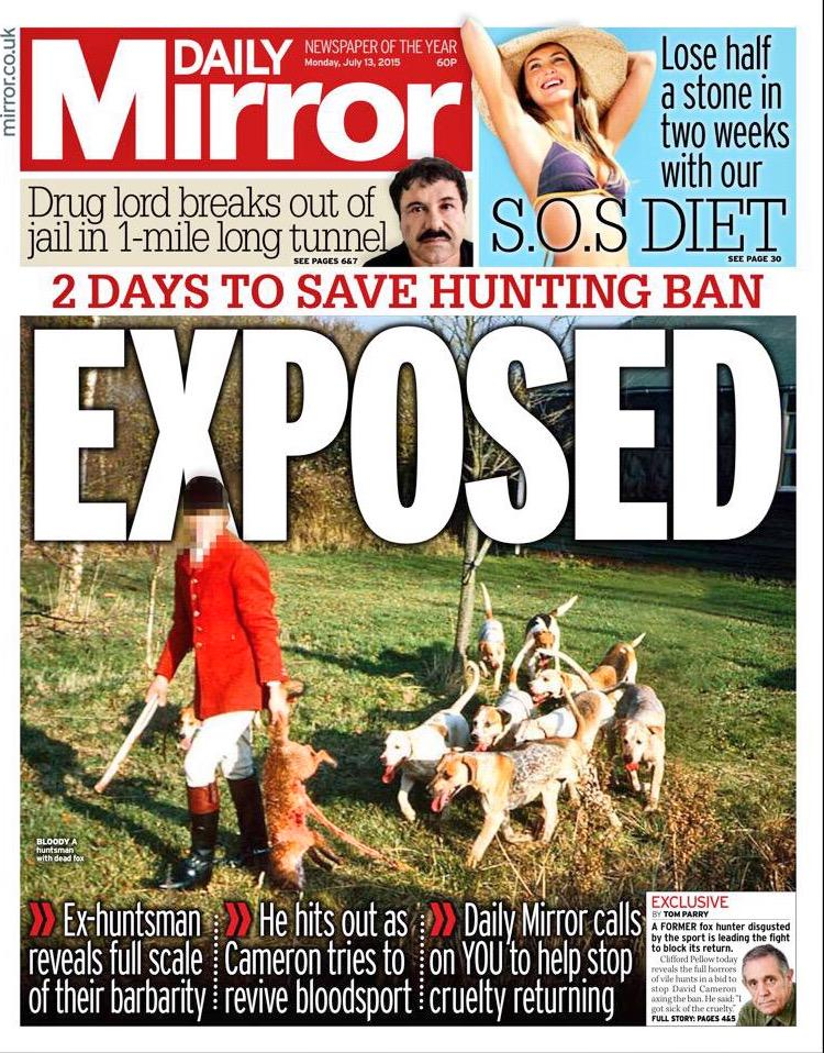 Good to see some coverage of the shameful attempt by the Govt to bring back archaic fox hunting tradition #BackTheBan http://t.co/Yp5TYYzWpQ