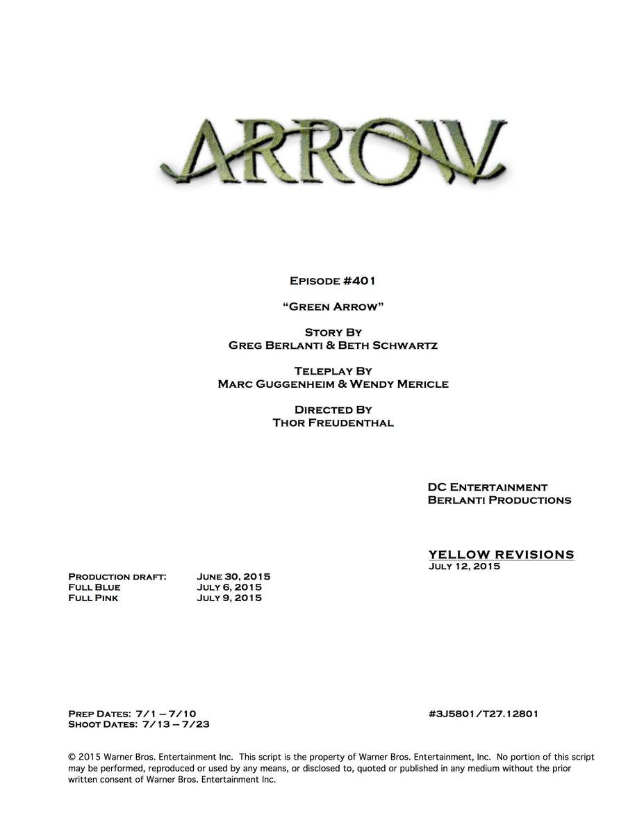Arrow Season 4 begins filming tomorrow. @GBerlanti @SchwartzApprovd @MericlesHappen. @ThorFreudenthal http://t.co/O3EW6M0oqD