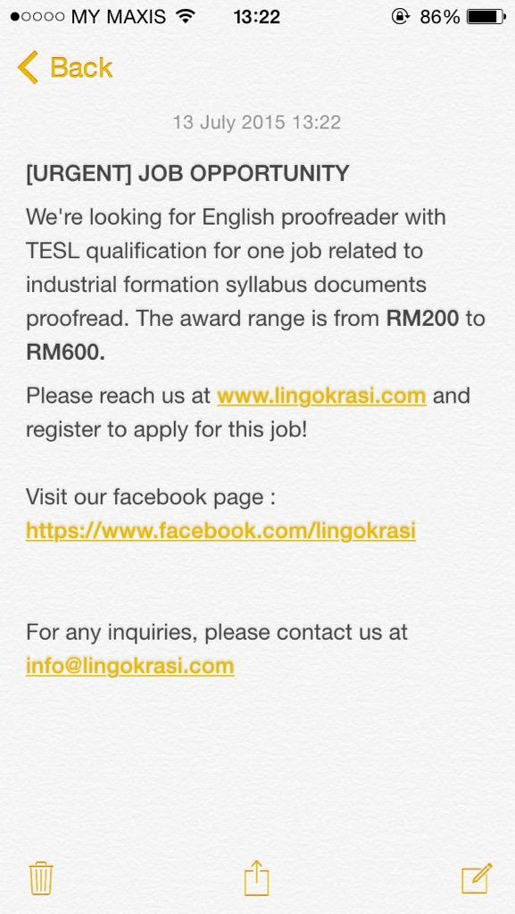 We're looking for English proofreader with TESL qualification. The award range is from RM200 to RM600! Pls help RT http://t.co/k77NnCverO