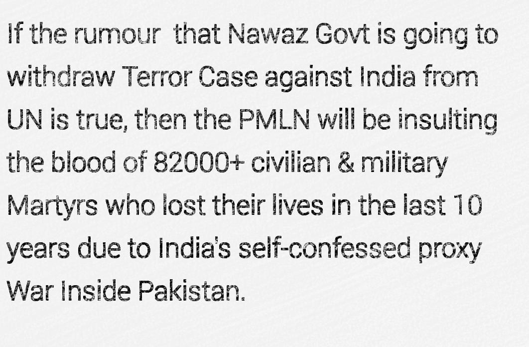 Warning to Nawaz Sharif's PMLN Govt.  The Blood of the martyrs will not be allowed to go in vain. http://t.co/E3chW3fPId