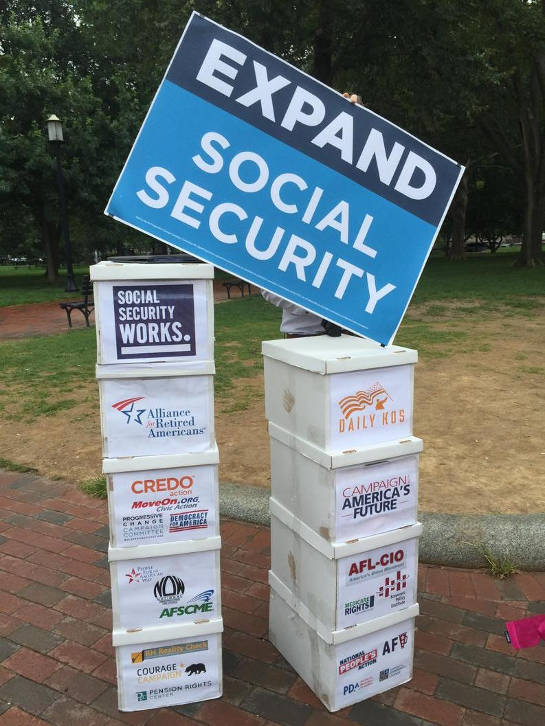Getting ready to deliver 2.5 million expand #socialsecurity petitions from the American people! #WHCOA http://t.co/vBXizkgFX2