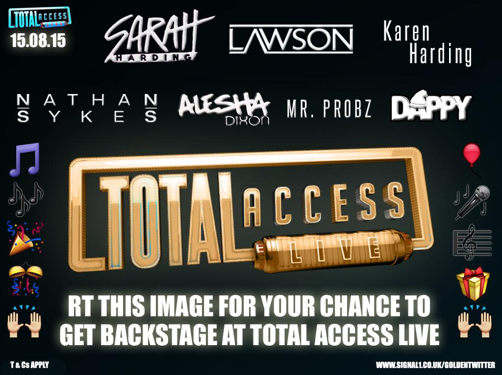 20 days till Total Access Live; and u could get backstage with a cheeky retweet! #TALiveGoldenTicket .. GO! http://t.co/WhgGOD6mkC