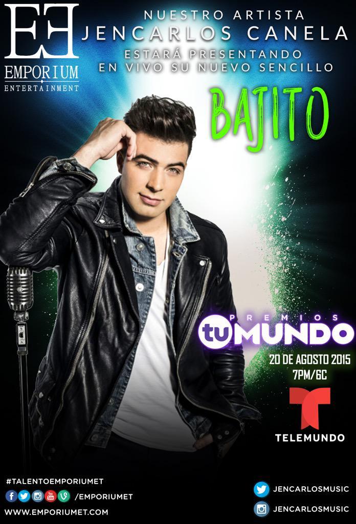 ¡ Ya es oficial ! Nuestro artista @jencarlosmusic estará cantando #Bajito en @PremiosTuMundo x @Telemundo @EmporiumET http://t.co/Tw6i9muGnQ