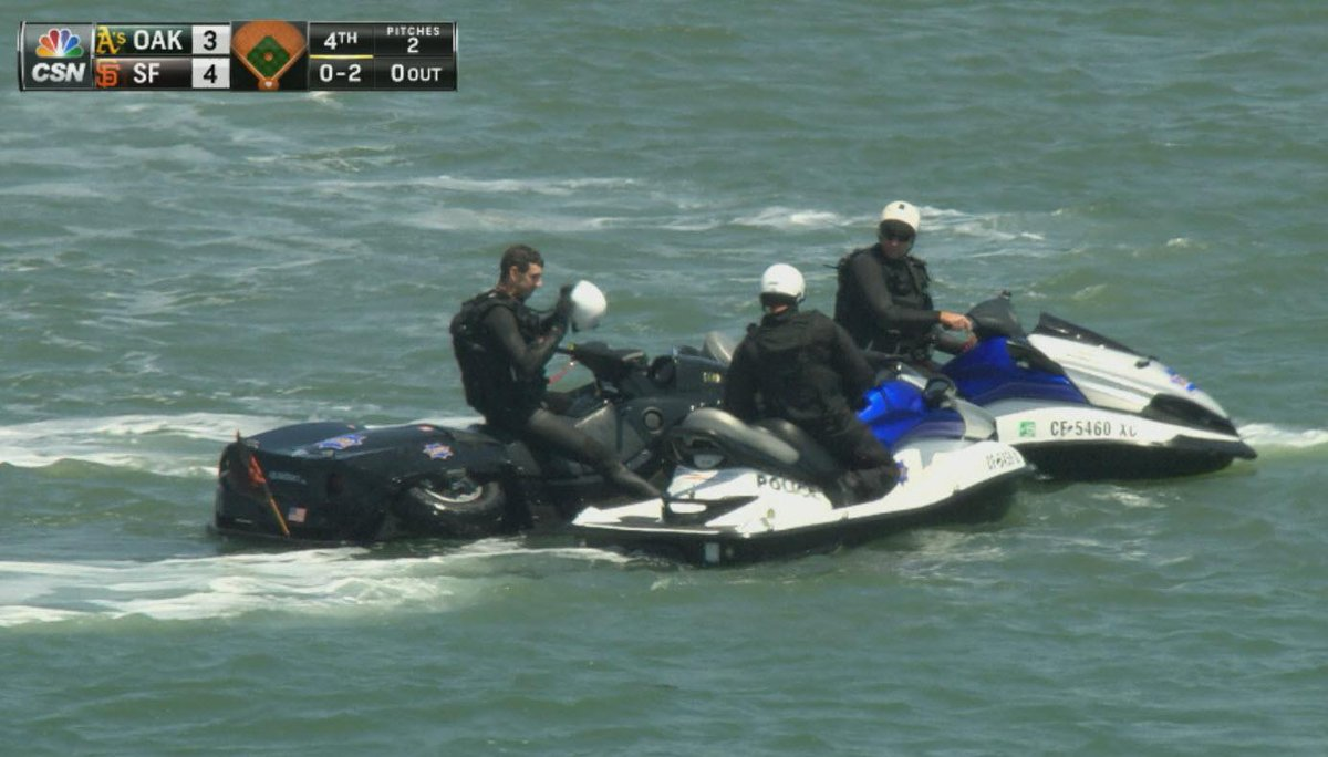 The quadski & jetskis are out today. #SFGiants #Athletics http://t.co/bITbb872dJ