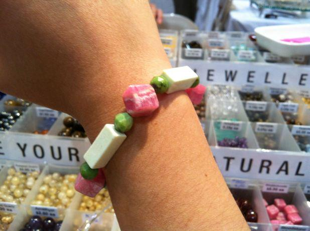 "A mix of rhodochrosite, magnesite & turquoise makes this sweet ""Ham, Cheese & Peas"" bracelet by a friend last year!"