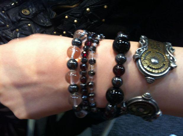 Metallic combination of hematite, garnet & quartz accessorizes the look of our customer last year! DIY at Booth 3209!