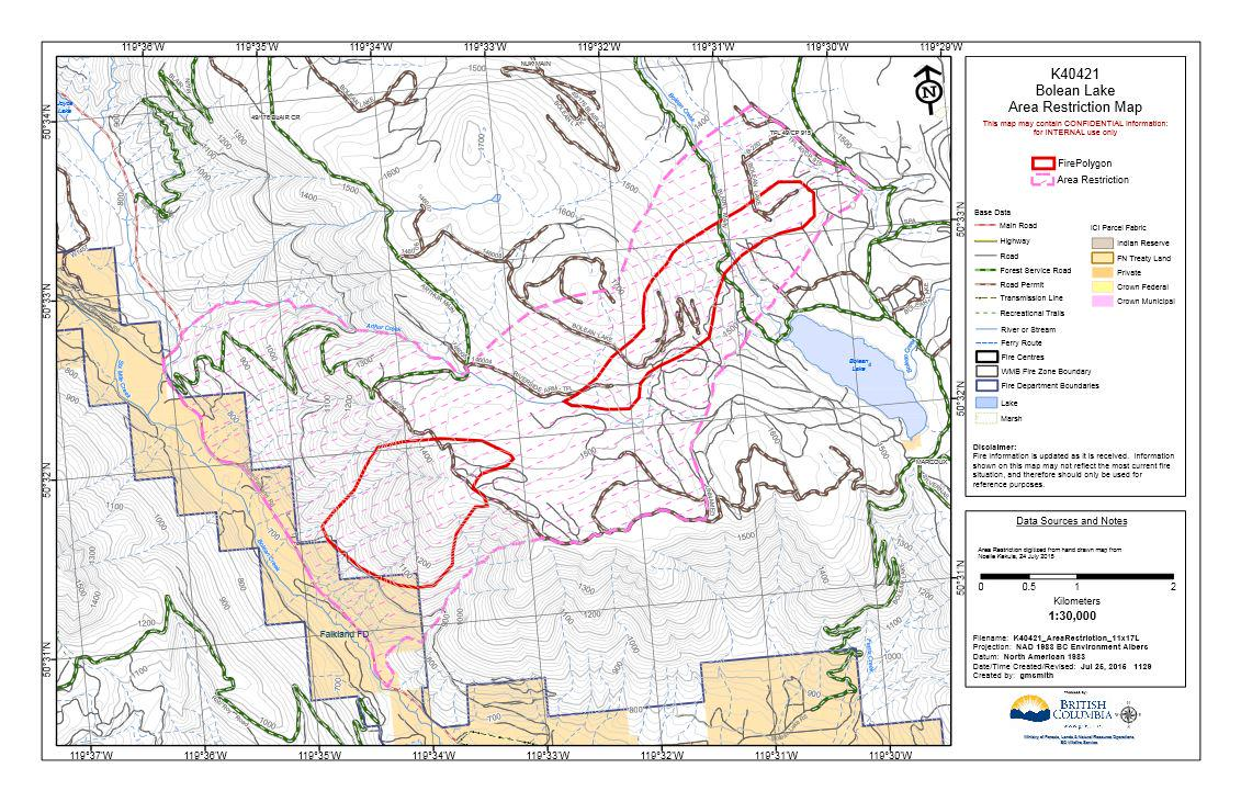 Bolean Lake #BCwildfire now 75% contained, ~350 ha. Areas around fire are restricted. Info: http://t.co/Ypmy2Asczv http://t.co/sy2DwMkL7x