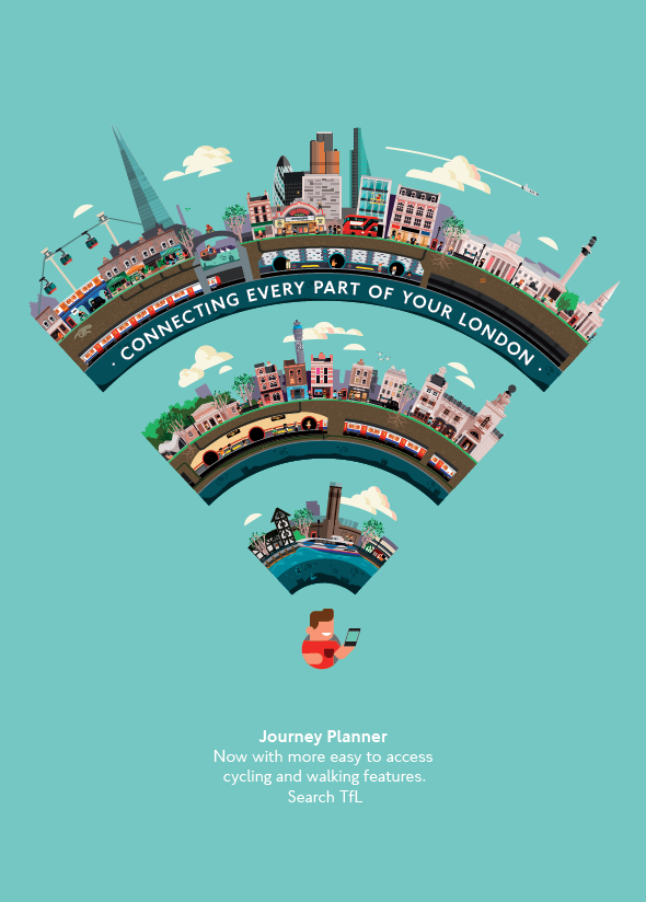 Journey Planner flat vector illustrated poster by Transport for London