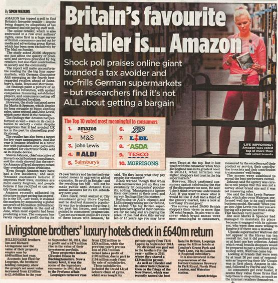 RT @MWWLondon: .@AmazonUK is the UK's favourite retailer in @HavasMediaUK #MeaningfulBrands study, featured in @DailyMailUK #Retail http://…