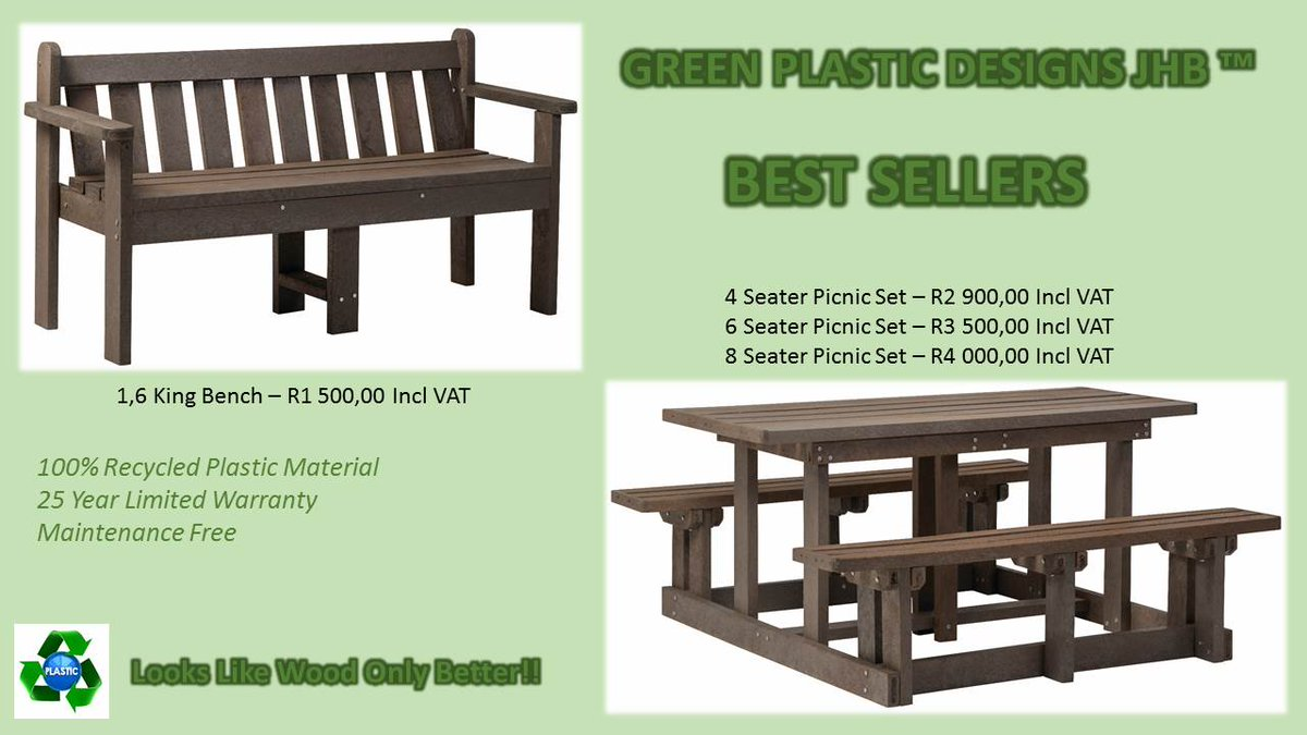 Green plastic jhb · greenplasticjhb 100 recycled plastic outdoor furniture
