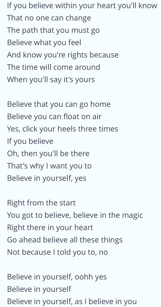 Lyric i believe in you lyrics : RJ on Twitter: