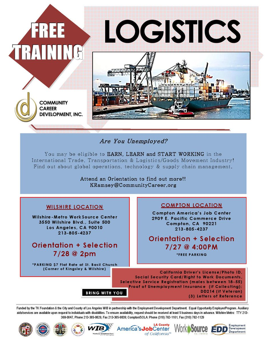 Looking for work? Orientation today or tomorrow for Logistics training and employment! #CSS #careerdevelopment #AJCC