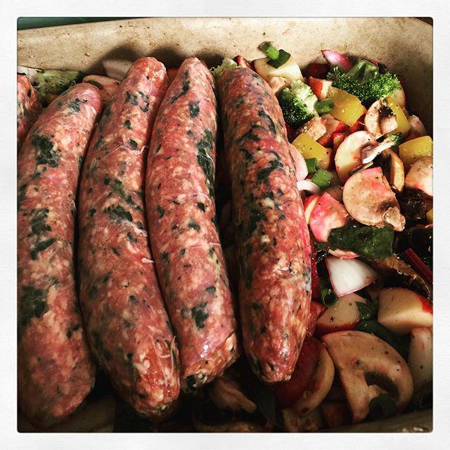 Starting the week off right. Lamb sausage and a potato veggie bake ready to hit the oven. Boom. http://t.co/zH5BwNmC3O