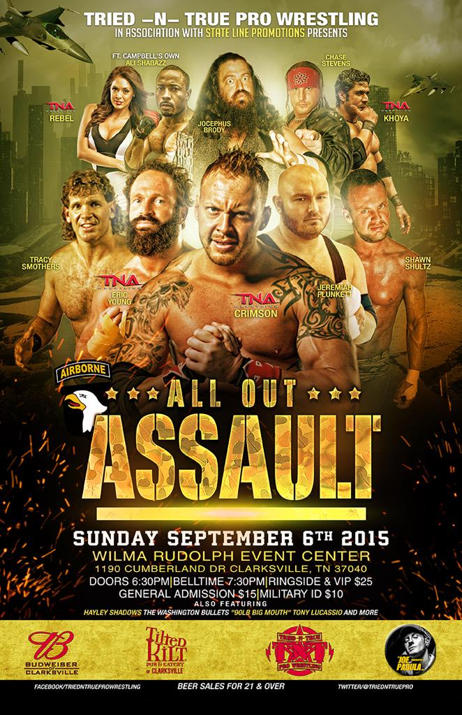 Sunday Sep. 6th Pro wrestling comes to my stomping grounds. Home of @101stAASLTDIV Ft. Campbell KY/Clarksville TN http://t.co/k71ETpleqy