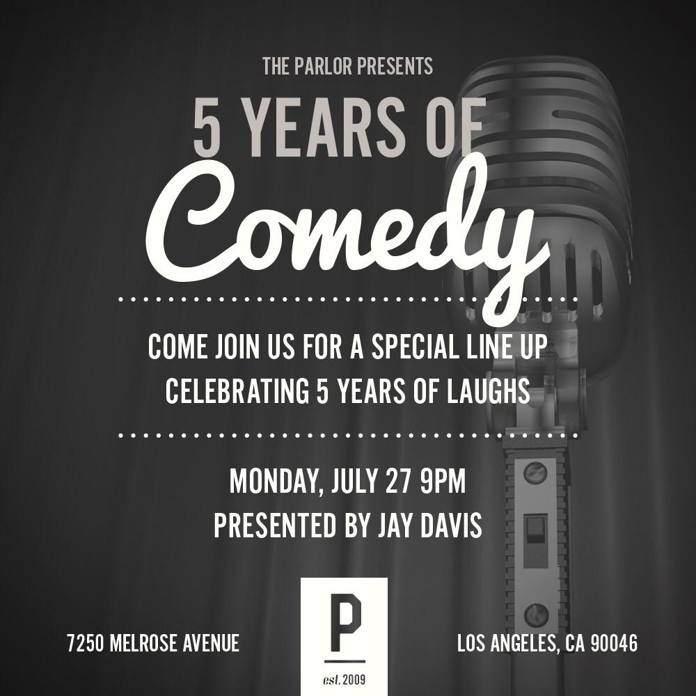 Celebrating 5 years of #comedy tonight with the best to do it, @JayDavisComedy! You don't want to miss it! #LA http://t.co/oxs05xqipx