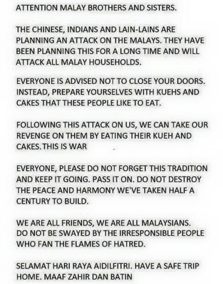 Chinese, Indians, dan lain-lain are planning an attack on the Malays. Please RT. http://t.co/3IzXrQ5gn7