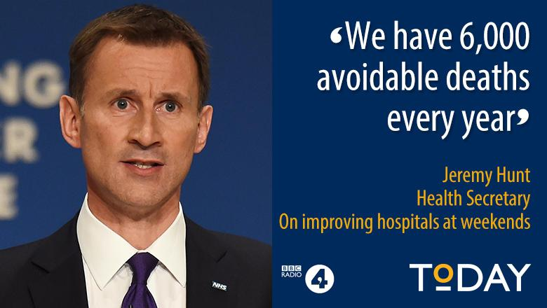".@Jeremy_Hunt: ""When you turn medicine into a Monday to Friday profession you end up with catastrophic consequences"" http://t.co/ttVVaGxgoA"
