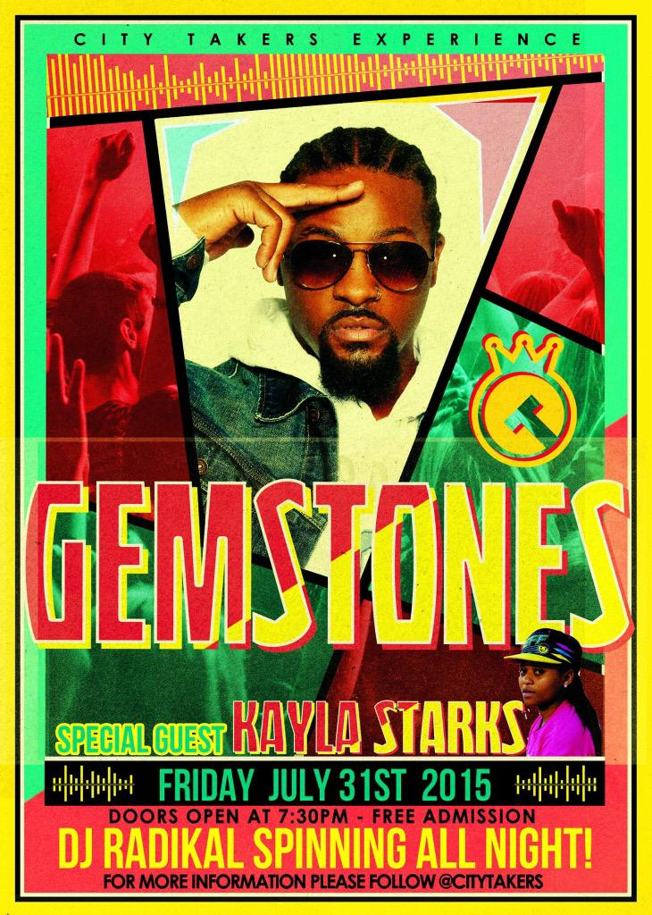 This Friday spread the word! #CityTakers experience July 31 feat @1Gemstones & @TheKaylaStarks & @djradikal http://t.co/vmlgnuve5c