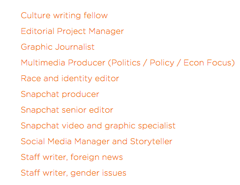 Whoa. When did @voxdotcom post ELEVEN new jobs? Get at us, people! http://t.co/p7REDWTevN http://t.co/tdw9qNqB5u