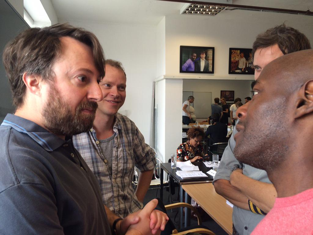 LAST EVER Peep Show readthrough today. I promise I will shave before we start shooting. http://t.co/T7r6oidoNX