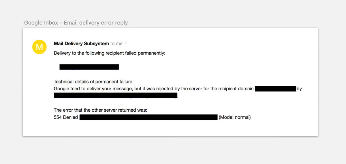 Guillermo Rauch On Twitter Idea Parse These And Display Them As Meaningful Errors Instead Of Mail Delivery Subsystem Replies Tco Tu52GQi02R