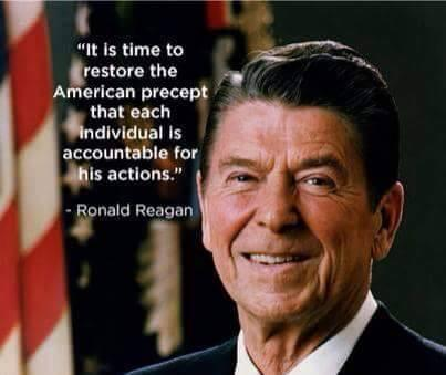 It is time to restore the American precept that each individual is accountable for his actions. ~Ronald Reagan http://t.co/jpVlzY7WNY