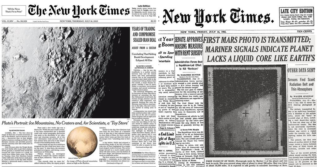 History rhymes: First glimpses of Pluto & Mars atop two NYT front pages exactly 50 years apart http://t.co/HmHw64lOxu http://t.co/8vW7UujWux
