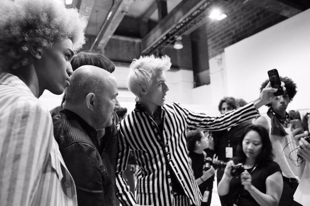 Backstage selfies after the spring 2016 show with @luckybsmith #JVRunway #seeingstripes #NYFWM http://t.co/0q9NBdyCHz