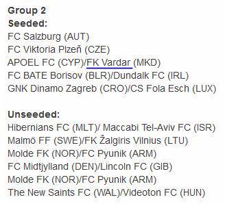 Vardar's potential opponents (UEFA's website listed Molde twice)