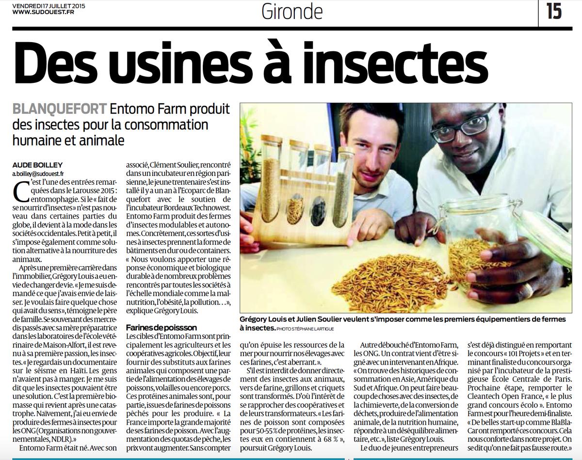 Accompagnée par @Bdx_Technowest la #startup @entomofarm à l'honneur dans @sudouest #Ecoparc #Blanquefort @BxMetro