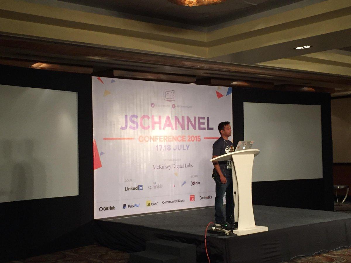 Our very own Apoorv Saxena at the JSChannel Conference 2015, Bangalore #JSChannelConf @js_channel #javascript http://t.co/Z2EsqBW3En