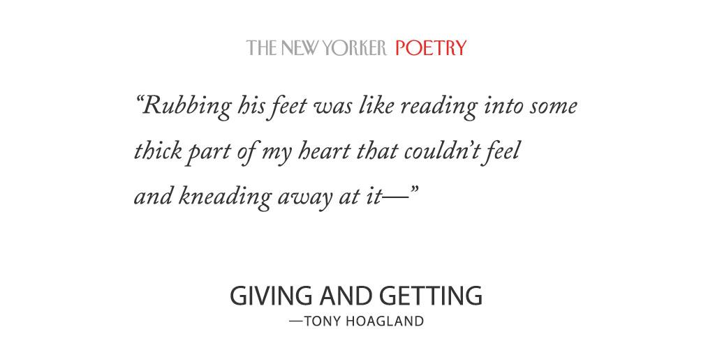 Read Tony Hoagland's poem, 'Giving and Getting,' from this week's issue: http://t.co/TsfId8k8he