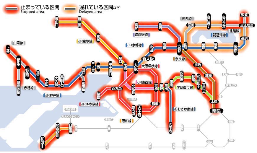 生きているように見える天王寺〜奈良間の大和路線も、環状線が止まっているため、間引き運転されています。お気をつけください。 http://t.co/pO9YSdvmpS