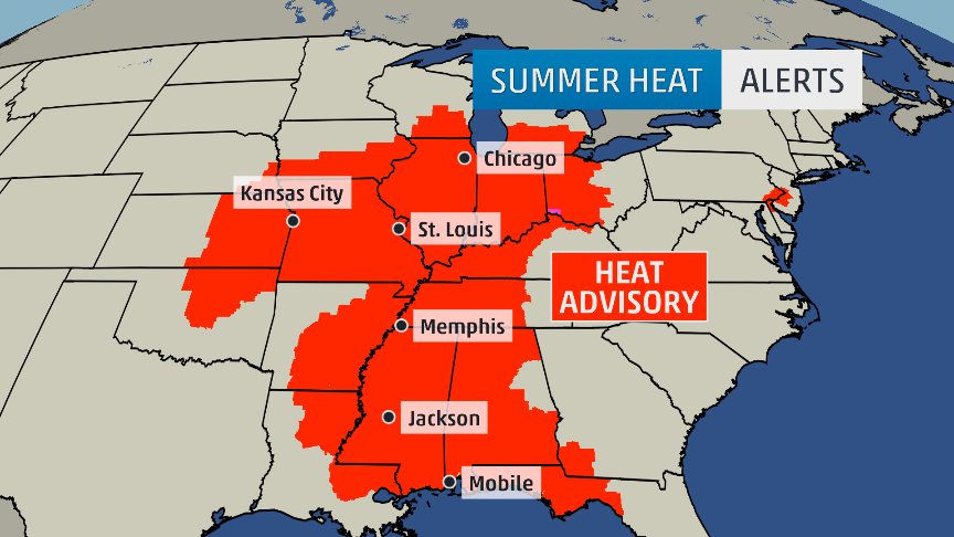 Map Heat Advisory Issued For Much Of The Midwest This Weekend - Midwestern us map