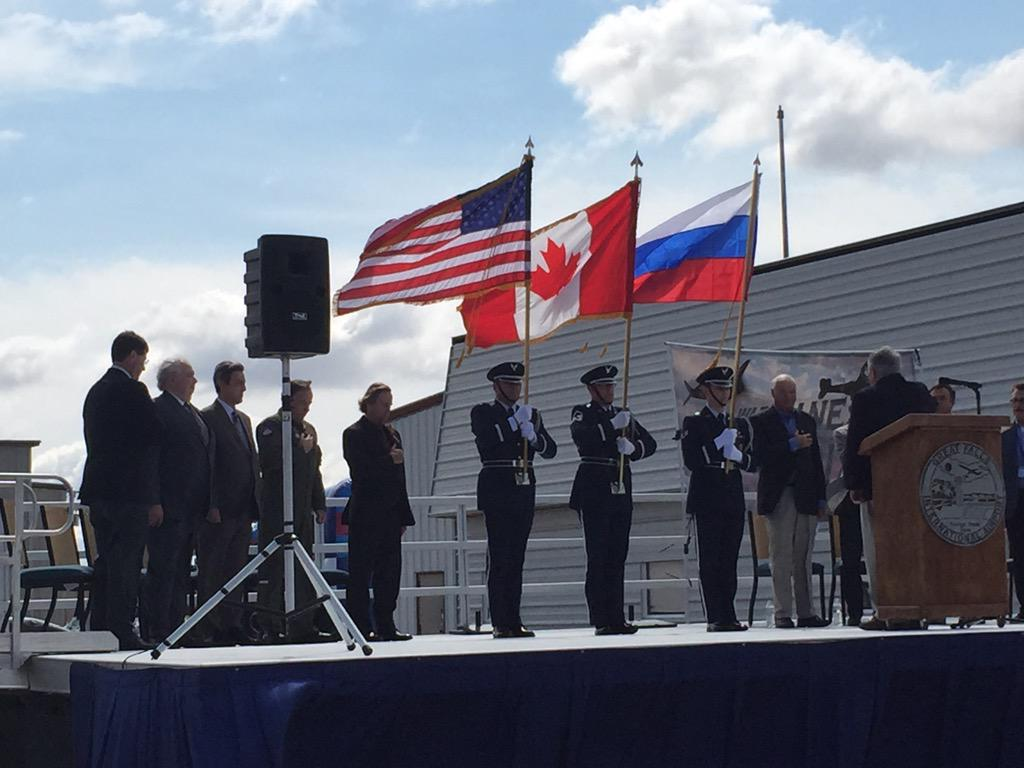 Something you don't see everyday. U.S., Canadian and Russian flag presented by #mang at @FlyGTF. #warbirdsoverGF http://t.co/TKzvraMEJ4