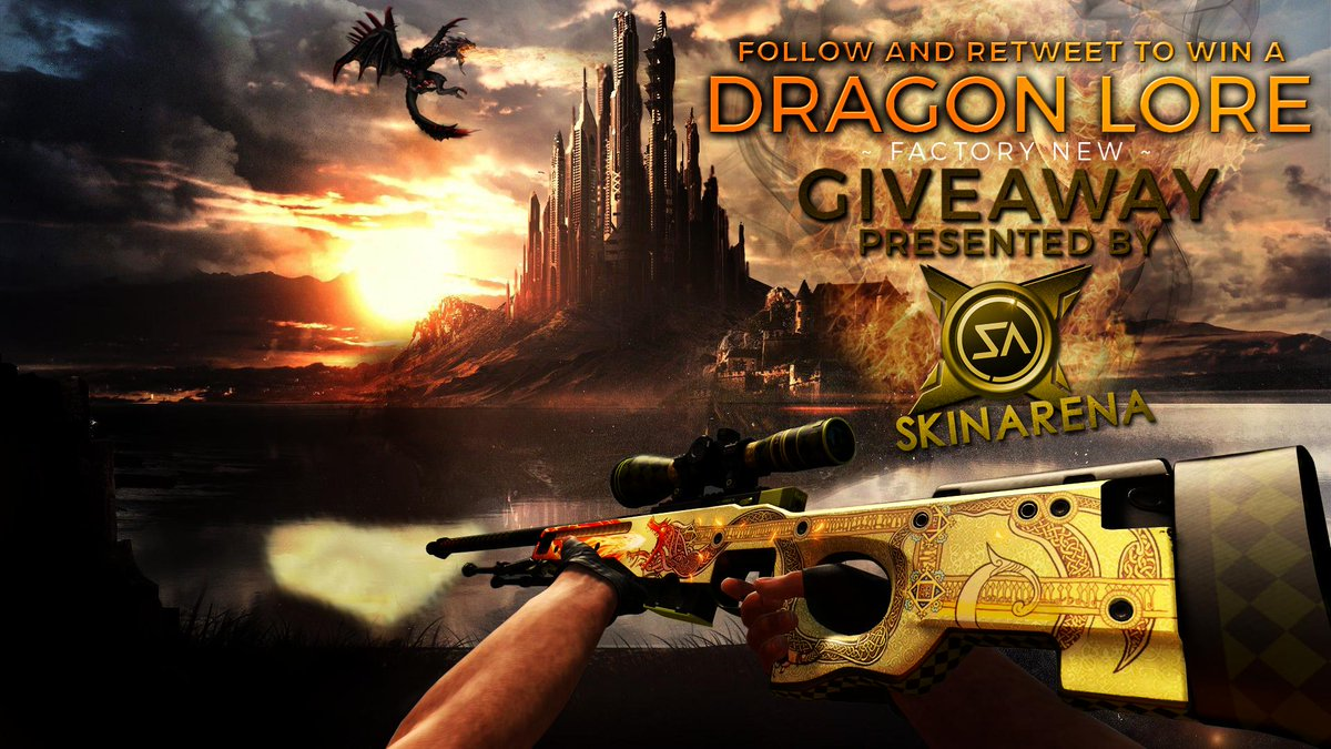 GIVEAWAY TIME! Follow @SkinArenaCS and RT this tweet to have a chance at winning an AWP DRAGON LORE FN! Good luck! http://t.co/qyMu7ZDyiK