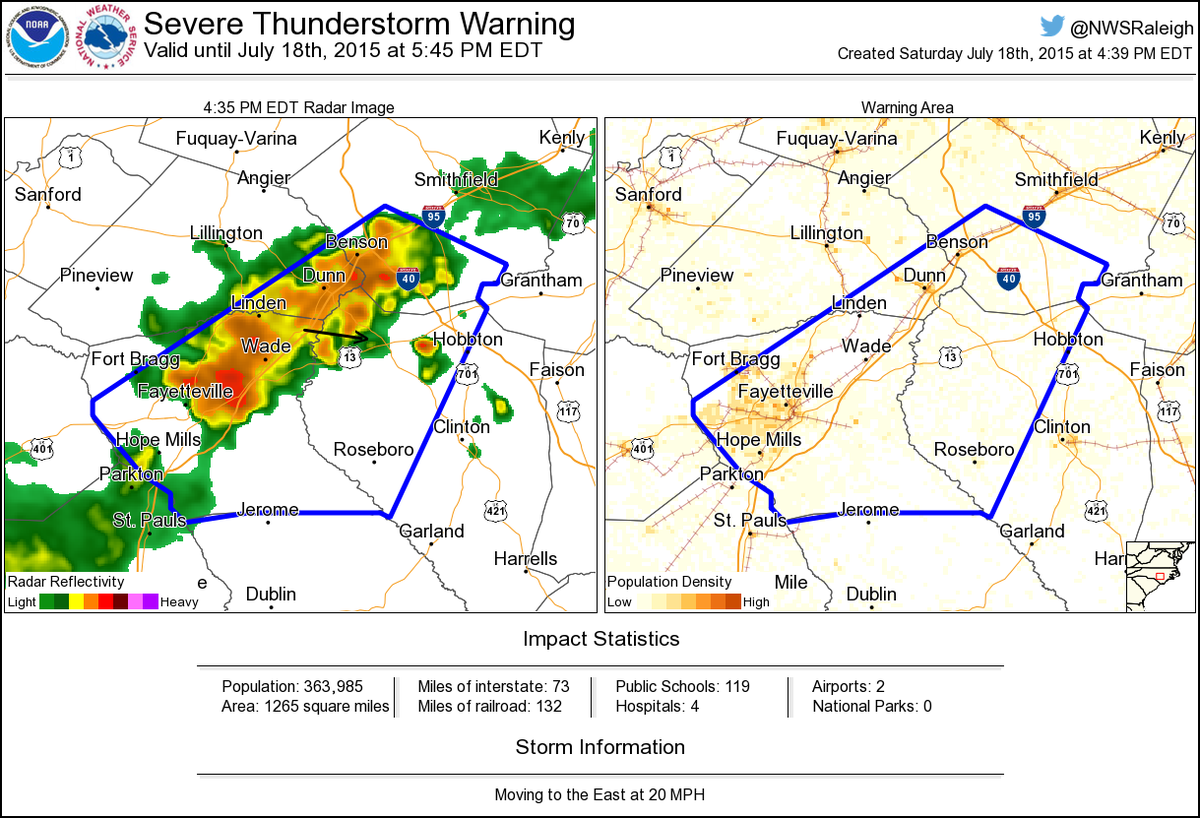 Nws Raleigh On Twitter Severe Thunderstorm Warning Including
