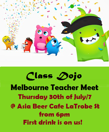 ClassDojo Melbourne Meet Up @ Asia Beer Cafe 30/7 6:00pm - Hope 2 cu there! Register http://t.co/YUr7mEICuI #aussieED http://t.co/PTkBMS86gG