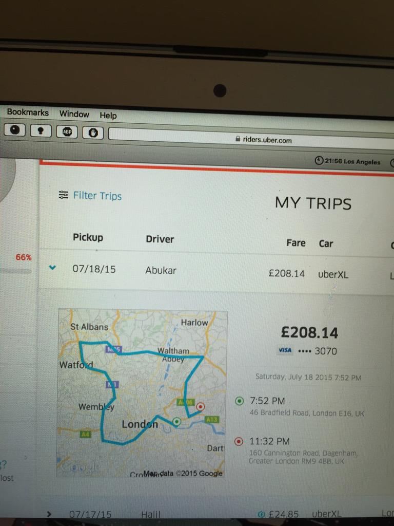 @Uber @Uber_Support  Pick up in e16 drop off in e2 Why has your driver continued to drive round London and charge me