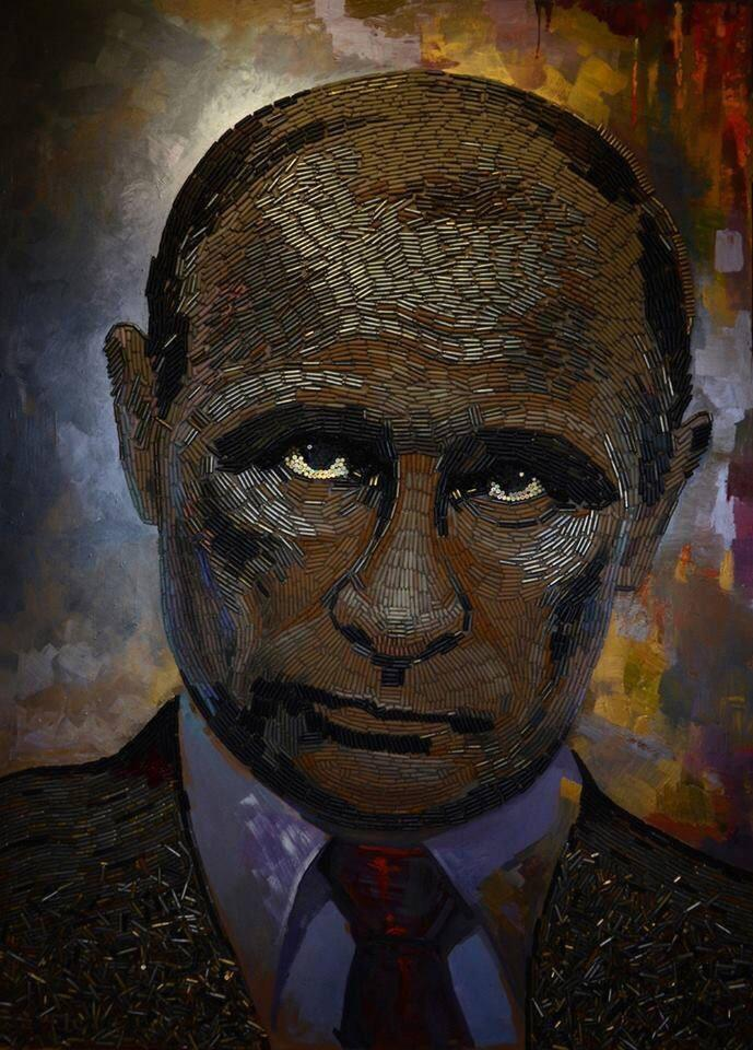 Daria Marchenko's 'The Face of War' stands ~6x9ft tall, made of 5000 cartridges found on ground in #Ukraine war zone.
