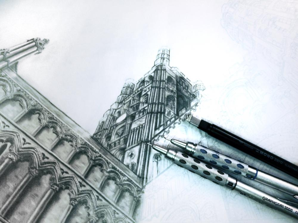 More http://t.co/y7fVDRa1fI progress on my #drawing of Ely Cathedral this evening. Hope you like it!! http://t.co/NdPddPd6NF