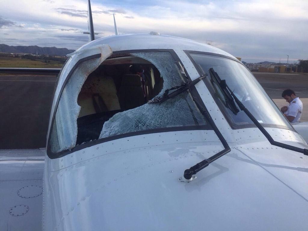 [Brasil] Avião colide com ave em pleno voo, tem para-brisa destruído e segue rota CKUeShHWIAA6cKE