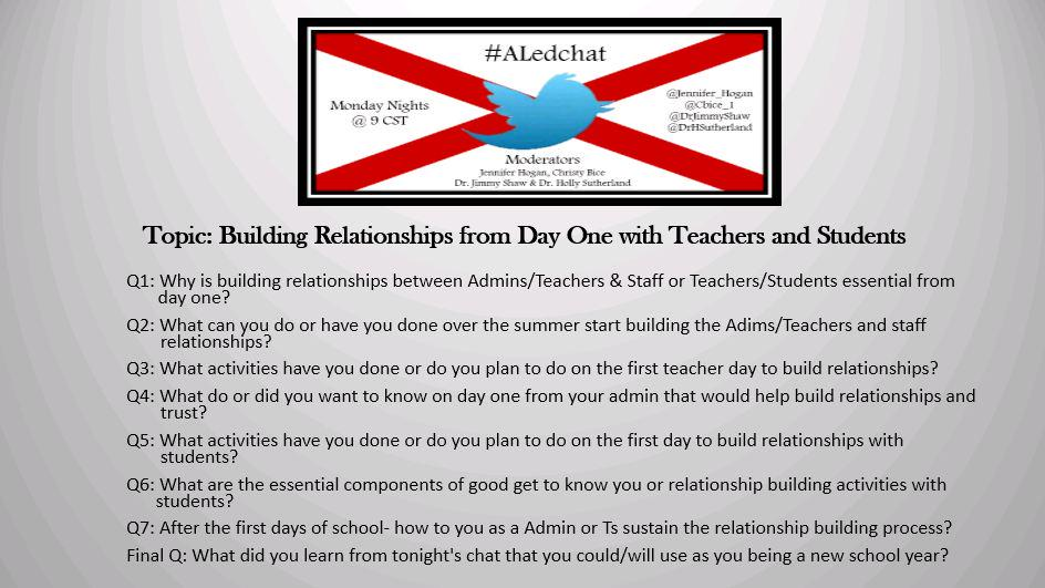 Thumbnail for #ALedchat  7/20/15  Building Relationships from Day 1 with Teachers and Students